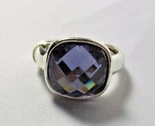 Ring Emerald Cut Blue Austrian Crystal Solitaire Pave Setting Size 9.5 NWT T32