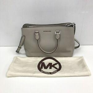 Michael Kors Bag Grey Textured Leather Detachable Adjustable Strap Zip 111477