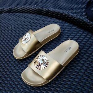 Designer Gold MICHAEL KORS Slides Sliders UK 38 (5)