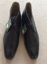 BNWOB Mens UK Size 11 M&S Black Genuine Leather Lace Up Ankle Brogue Style Shoe