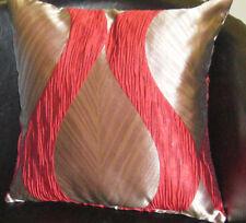 Dark Beige Leaf With Red Pattern Evans Lichfield Cushion Cover