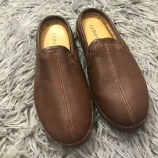 LL Bean Mens Elkhide Scuffs Sz 10M Brown Leather Slip On Slippers Item 272349