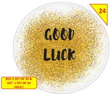 48 NON PERSONALISED Good Luck  Labels Stickers Gift sweet Cone Bags