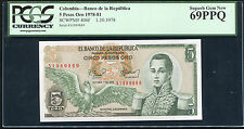 SCWPM# 406f 1978 5 PESOS ORO COLOMBIA BANCO DE LA REPUBLICA PCGS UNC-69PPQ