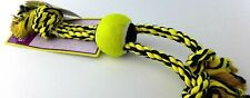 "Multipet Nuts for Knots 15"" 3 Knot Rope Tugs with Tennis Ball (Yellow)"