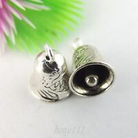 40pcs Vintage Style Silver Alloy Small Bell Shape Pendant Charms 39043