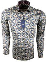 Herren Hemd Regular mit Muster Freizeithemd Blumen Langarm 97% Baumwolle M-3XL