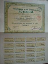 LOT 2 ACTIONS ORDINAIRE ET DE CAPITAL  ECLAIRAGE CHAUFFAGE ACTINIUM LIEGE 1909