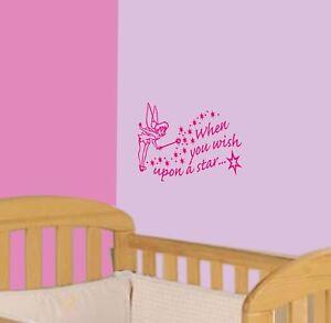 Tinkerbell Fairy Wish Upon A Star Room/Wall/Nursery Vinyl Sticker Disney