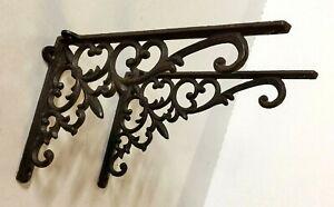 SET OF 2 FANCY FLEUR DE LIS WALL SHELF BRACKET Ornate Corbel Brace Bronze Finish