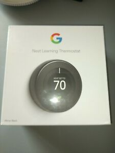 NEW - Google Nest Learning Thermostat T3018US (Mirror Black)
