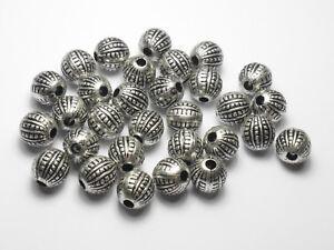 30 Hochwertige Acryl Großlochperlen Silber 12mm,SpacerBasteln Schmuckzubehör NEU