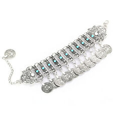 Retro Women Girl Boho Silver Plated Coins Pendant Bracelet Chunky Chain Jewelery