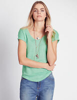 M&S INDIGO COLLECTION Mint Green 100% Linen V Neck Top Sizes 12,14,16 RRP £19.50
