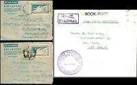 Burma 1952 1953 2 Airletters Burma Postage 6A & 1961 Airmail Rangoon Book Post