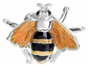 David Van Hagen Mens Bee Design Enamel Lapel Pin - Silver/Black/Yellow