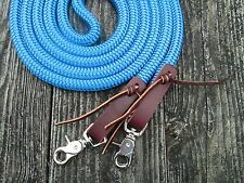 Rose Lodge 8' BLUE Trail Barrel Roping Yacht Rope Loop Reins Leathers USA