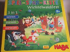 Haba Spiel Spaß Kiste Wichtelwaldfest 2+ 3 in 1 spielen puzzeln vorlesen
