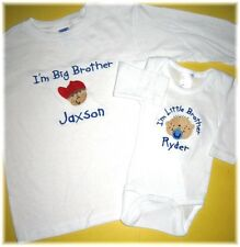 Personalized Big/Little SISTER Big/Little BROTHER FACES T SHIRT & CREEPER SET