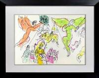 Marc CHAGALL Color Lithograph LIMITED Ed Sketch for Mozart 1965 w/Archival FRAME