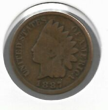 Rare Very Old Antique US 1887 Indian Head Penny Cent Collectible Collection Coin