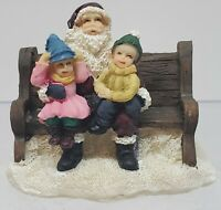 O'Well Lemax ? Christmas Village Resin Figurine - Kids On Santa's Lap On Bench