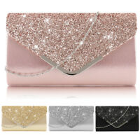 Fashion Women Ladies Glitter Evening Clutch Bag Party Wedding Prom Handbag Purse