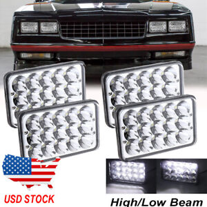 4pcs 4X6'' Hi/Lo Beam LED Headlights Fit for Chevrolet Monte Carlo1980-1988 Ford