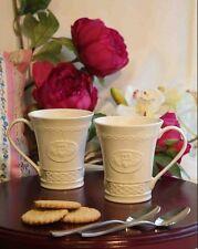 SET of TWO Irish Belleek China Claddagh 10oz Mugs MADE IN IRELAND