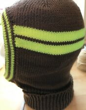 Be Seen At Night Men's Knitted Balaclava In Light Brown & Chartreuse DK Handmade