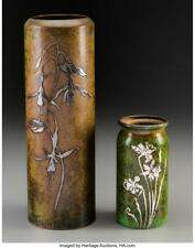 Two Heintz Sterling Silver On Bronze Floral Vases, Early 20Th Centu. Lot 61865