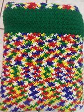 "Vintage crochet afghan, multi-color Green Border 74"" x 59"""