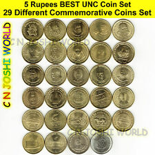 Very Rare 34 Different 5 Rupees+10 Rupees Commemorative 5+10 Rupees UNC Coin Set