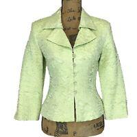 Joseph Ribkoff 8 Med Blazer Mint Green Shimmer Ruched Crinkle 3/4 Sl Jacket NICE