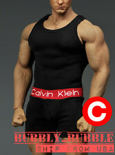 1/6 Men Tank Top Underwear BLACK For Phicen M34 Hot Toys Muscular SHIP FROM USA