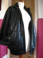 """RRP£249 Mens M&S AUTOGRAPH leather COAT JACKET large 42 44"""" black biker bomber"""