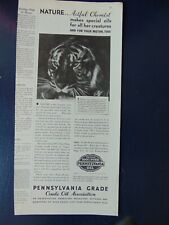 1932 Pennsylvania Grade Crude Oil Association Tiger vintage art print ad