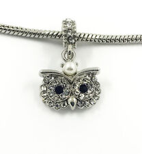1pcs Silver Owl European Charm Crystal Spacer Beads Fit Necklace Bracelet HOT