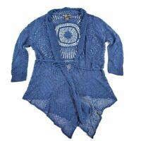 United States Sweaters Womens Open Knit Crochet Cardigan Blue Long Sleeve L