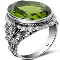 925 Sterling Silver Ring Antique Peridot Women Rings Pearl Green Classic Oval