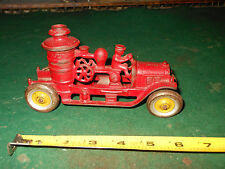Rare Vintage Kenton Toys Red & Gold Cast Iron Fire Pump Firetruck Toy w/ Bell