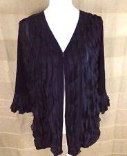 SLINKY BRAND Women's Top Blouse Size M Travel Dressy Open Front Stretchy Black
