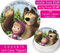 MASHA & THE BEAR EDIBLE WAFER & ICING PERSONALISED CAKE TOPPERS DECORATION PARTY