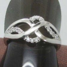 Solid 14k White Gold Intersection Curve Natural Diamond Party Ring