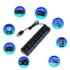 7-Port USB 2.0 Multi Charger Hub +High Speed Adapter ON/OFF Switch Laptop/PC KF