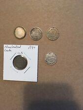 Newfoundland Canada Queen Victoria Lot Of 5 Dimes 10 Cents 1865,72,88,94,96 Nice