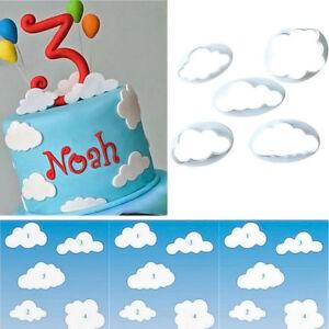 5PCS Cloud Plasti Cake Cookies Cake Cutter Mold Fondant Decorating Tools 5 Sizes