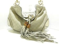 Auth GUCCI Gucci Indy Shima line 177139 Ivory Leather Handbag