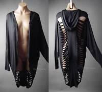 Black Hooded Cloak Ripped Cyber Punk Apocalyptic Goth 236 mv Jacket 1XL 2XL 3XL