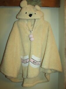 Winnie The Pooh cream thick fleece hooded sleep poncho by Primark size 10-12